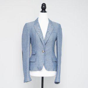 Zara Quilted Blazer in Light Blue Linen Blend